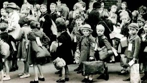 Some middle class children outside a nursery yesterday
